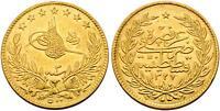 TURKEY - OTTOMAN , GOLD 500 PIASTRES SULTAN MOHAMED V 1327/3  ( RA ) , XX RARE