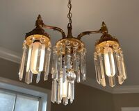 Art Deco Bronze Brass 3 Light Chandelier w Crystal Prisms Ceiling Lamp Fixture