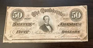2.17. 1864 CONFEDERATE STATES OF AMERICA 50 DOLLARS BANK *Error Note*
