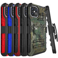 For iPhone 12/Mini/Pro/Pro Max Shockproof Belt Clip Kickstand Holster Case Cover