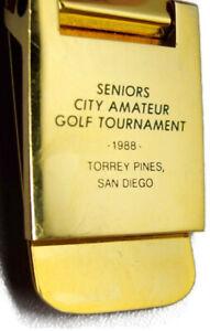 Torrey Pines San Diego Seniors Golf Tournament 1988 Amateur Money Clip Wallet
