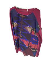 Roper red Blue Brown Geometric Western tunic shirt high low hem womens size M