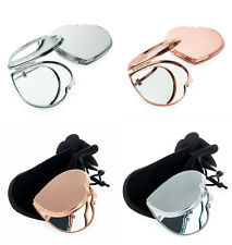Small Compact 7cm Rose Gold Colour Metal Double Sided Mirror Handbag Makeup