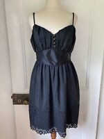 Thurley size 10 Silk Black Fit & Flare Dress Fitted Bodice waisted lace hem stra