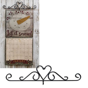 "Black Metal Heart Calendar Holder 14 1/4"" long"