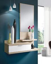Mueble recibidor para colgar con espejo y un cajón, color blanco y nature