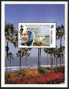 Gambia 1176 s/s, MNH. QE II's Accession to the Throne, 40th anniv. Yacht, 1992