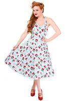 Womens's Classic Banned Cherry Blindside Halter Neck Vintage Retro Swing Dress