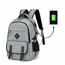 Lightweight College School Backpack with USB Charging Port