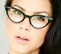 New CLASSIC VINTAGE 60s CAT EYE Style Clear Lens EYE GLASSES Black Fashion Frame