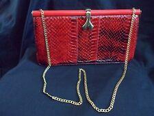 Vintage RED Snakeskin / Leather - Clutch / Shoulder / Handbag with Chain
