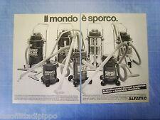 QUATTROR982-PUBBLICITA'/ADVERTISING-1982- ALFATEC-BIDONE ASPIRATUTTO -2 fogli