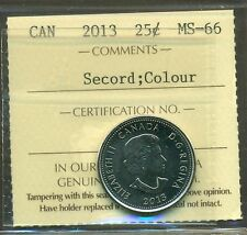 "2013 Canada 25 Cent ""Secord Colour"" ICCS Certified MS-66"