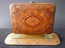 VINTAGE LEATHER AND BRASS DESK CIGARETTE CASE- DOUBLE SIDED