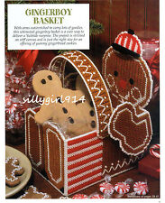 """""""CHRISTMAS GINGERBOY BASKET""""~Plastic Canvas PATTERN ONLY~6""""w x 9-3/4""""h x 7-1/2""""d"""