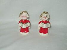 "pair of 3.5"" Christmas Angel Caroler Figurines Spaghetti Hair ~ no markings"