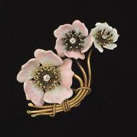 Antique Victorian 14k Gold Diamond Enamel Flower Brooch Pin- Estate Jewelry 9.4g