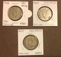 BRITISH EAST AFRICA 1948,1949,1950 SET OF 3 COINS 1 SHILLING LION,GEORGE VI KM31