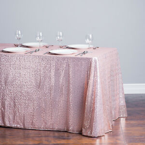 "5 Sequin Tablecloths Overlays 54""x108"" Rectangular Sparkly Wedding Made in USA"