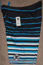 NEW Mens DC Trademark Black/White/Blue Striped Board Shorts Size W30 MSRP $50
