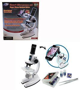 Smart Microscope Set Inc Smartphone Connector Slides Vials Tweezers 100/450/900x