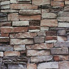 Blooming Wall Faux Stone Brick Wall Mural Wallpaper Vinyl for Livingroom Bedr.