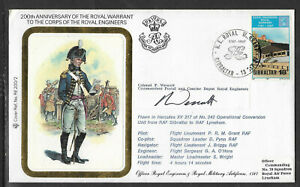 GIBRALTAR 1987 ROYAL ENGINEERS ROYAL WARRANT MILITARY UNIFORM FLOWN FDC 2 SIGNED