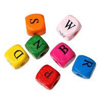 500 Holz Buchstabenperlen A-Z Mix Bunt 9 x 10 mm Buchstaben Perlen Basteln Diy