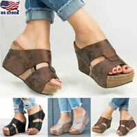 Womens Platform Wedge High Heels Sandals Ladies Summer Flip Flops Shoes Size USA