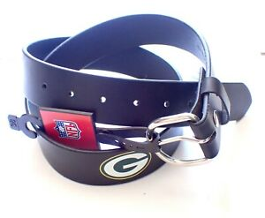 VINTAGE GREEN BAY PACKERS SOLID LEATHER BELT WITH SNAPS/REMOVABLE BUCKLE SIZE 32
