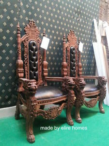 Lion King Throne Chair ~ designer Antique Mahogany /Dark tone with faux leather