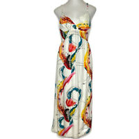 Jams World Womens Size Medium W318-Moji Mojito Print Surplice Neck Maxi Dress