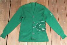 Vintage 1950s Green Wool Varsity Football Captains Sweater Large C Letter Patch