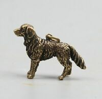40MM Collect Chinese Bronze Fengshui 12 Zodiac Animal Dog Amulet Pendant Statue