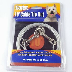 10 Ft Cable Tie Out Strong Vinyl Coated Galvanized Aircraft Cable Up to 25 Lbs