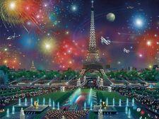 3D Lenticulaire image Paris nightime célébration scène Tour Eiffel 39x29cm