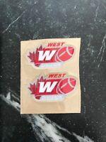 "2 CFL West Division Logo Mini HELMET DECAL SET Rare 3"" Throwback Vtg HTF 2"" Pair"