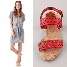 Rebecca Taylor $215 Claudia Perforated Flat Ankle Strap Sandals. fits 7