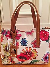 VALENTINA Floral Italian Pebbled Full Grain Leather Tote Shoulder Strap $365NWT