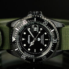 INFANTRY Mens Quartz Wrist Watch Date Luminous Dial Military Green Nylon