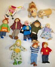 WOODEN DOLL HOUSE FIGURE People goat cow family lot