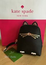 New Kate Spade Jazz Things Up Cat Coin Purse Black Saffiano Leather NWT
