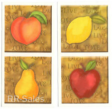 Orchard Apple Pear Lemon Peach Tile Covers Decal Kitchen Stickers IdeaStix Decor