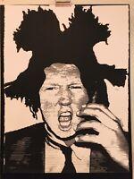 MR CLEVER ART TRUMP BASQUIAT SILKSCREEN black white contemporary pop art urban