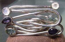 Sterling silver cut iolite/topaz/moonstone HUGE cocktail ring UK O½-¾/US 7.75
