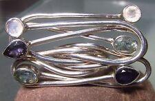Sterling silver cut iolite/topaz/moonstone HUGE cocktail ring UK O½-¾/US 7.75