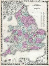1862 JOHNSON MAP ENGLAND AND WALES VINTAGE REPRO POSTER ART PICTURE 2934PYLV