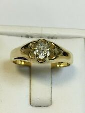 Superb Antique 18 Carat Yellow Gold GENTS GYPSY DIAMOND SET Ring 0.30ct