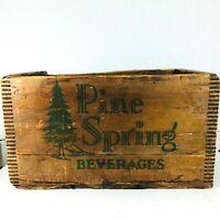 RARE Antique Vintage PINE SPRING BEVERAGES Wooden Crate Box BRUNSWICK MAINE 1944