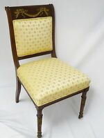 ANTIQUE LATE 19c FRENCH EMPIRE STYLE CHAIR w/ BRONZE MOUNTS